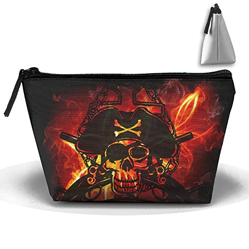 SESY Flaming Skull Pirate Hand Bag Pouch Portable Storage Bag Clutch Handbag