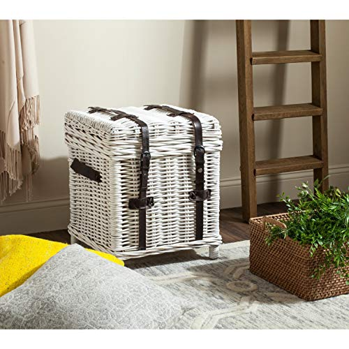 Safavieh Kacia Wicker Side Trunk in White