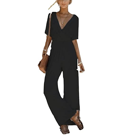 cfdb36ea37c Women Wide Leg Jumpsuit Short Sleeve V Neck High Waist Belted Jumpsuits  Rompers Casual Playsuit 3 Colors  Amazon.co.uk  Clothing