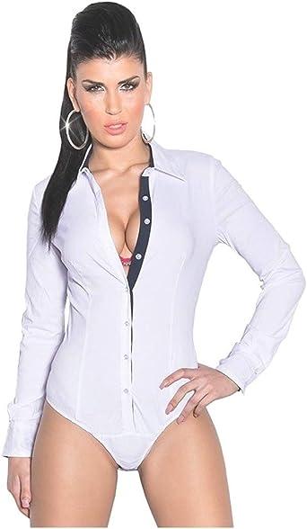 Fashion - Camisas - Body - para Mujer Weiß M: Amazon.es: Ropa y accesorios