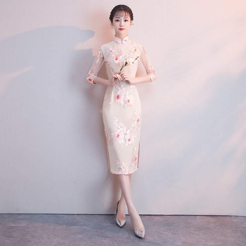 A1 XXXL Qingxi Une Version améliorée de la Jeune Fille Cheongsam dans la Longue Section d'une Robe élégante et fraîche à col Bas