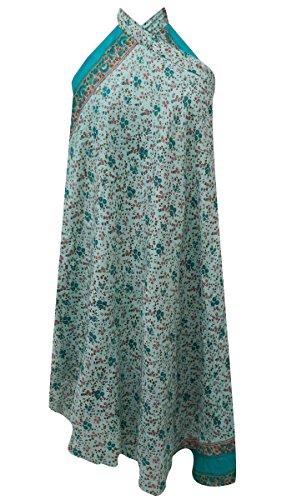 sheshe Floral Print Blue Pure Silk Reversible Magic Wrap Hippie Vintage Saree Around Skirt Vintage Wrap Around Skirt
