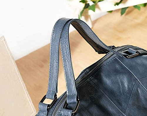Bolsos De Hombro De Las Mujeres Moda Zurriaga Suave Bolsa Grande Color Sólido Señora Viaje Casual Retro Bolso Grey