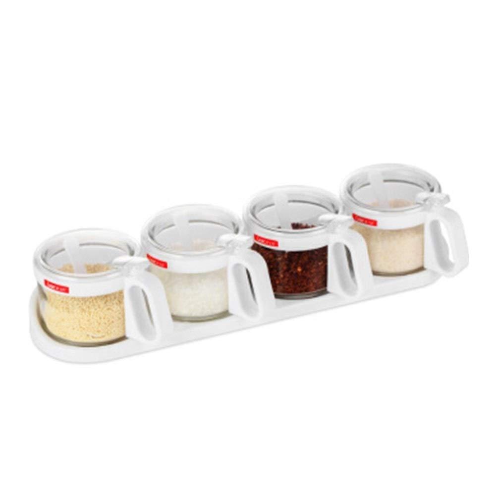 MINGRUIGONGMAO 300ML Four Sets Of Kitchen Food Grade Seasoning Jar Kitchen Seasoning Box, Cruet Pure White Plush toys (Color : White) by MINGRUIGONGMAO