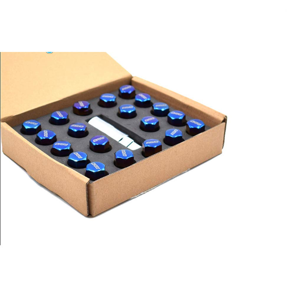 D28JD M12 20 St/ück//Set Universal-Radmutter blau gebrannt Radmutter Edelstahl Diebstahlsicherung blau gebrannt