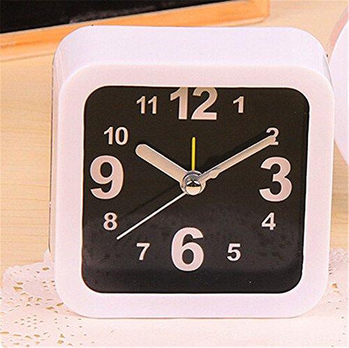 Modern Square Clock (Surborder Shop Modern White Square Classic Silent Desk Travel Alarm)