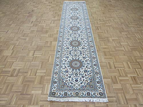 2'9 x 11'11 Runner Hand Knotted Ivory Persian Nain, used for sale  Delivered anywhere in USA