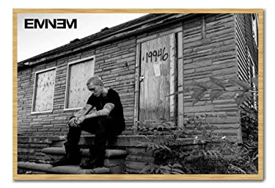 Eminem MMLP 2 Marshall Mathers Poster Magnetic Notice Board Beech Framed - 96.5 x 66 cms (Approx 38 x 26 inches)