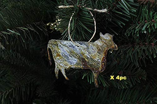 Party Indoor and Outdoor Use Thin Metal Farmhouse Hanging Decorations for Home Christmas Festival 4-Pack Rusty Xmas Tree decor Rustic Metal Dairy Cow Shape Ornament for Christmas