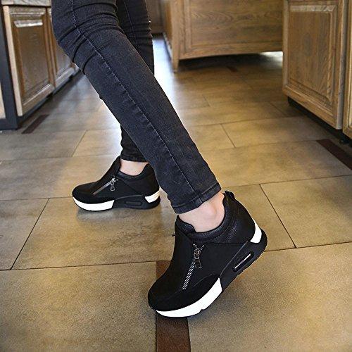de Femmes Mode Plate randonnée d'exécution Chaussures Chaussures de en Noir Sport Yesmile de Cours Forme Femmes Fond épaisse qYYBtX