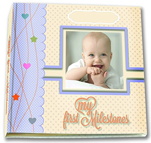 BabyCute - Baby Memory Book of First Milestones, with all needed and much More! 56 Page Photo Album and Scrapbook, Gender Neutral. Colorful and Exciting Artistic Design WITH DECORATED GLOSSY ENVELOPE