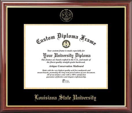 Laminated Visuals Louisiana State University Tigers - Embossed Seal - Mahogany Gold Trim - Diploma Frame ()