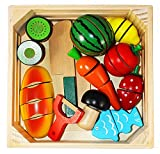 Toy Wooden Cutting Food Pretend Play Food Set