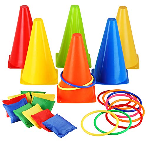 Eocolz 3 in 1 Carnival Games Set, Soft Plastic Cones Bean Bags Ring Toss Games for Kids Birthday Party Outdoor Games Supplies 26 Piece Combo Set by Eocolz (Image #1)