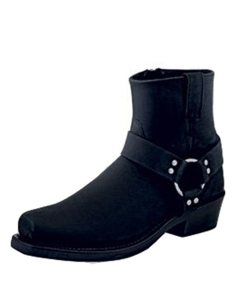 Old West Boots  Men's Short Harness Boot Black Distressed Boot