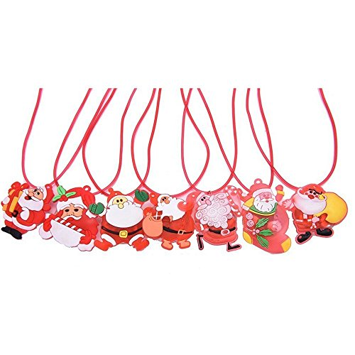 YouShe 12 Pieces Christmas Lightning Soft Chain Necklace, Flashing Santa Claus Snowman Christmas Tree LED Pendant Necklaces for Kids Party Favors Christmas Decoration, Random Styles