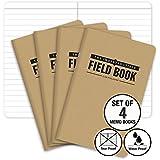 "The Indestructible, Waterproof, Tearproof, Weatherproof Field Notebook - 3.5""x5.5"" - Kraft- Lined Memo Book - Pack of 4"