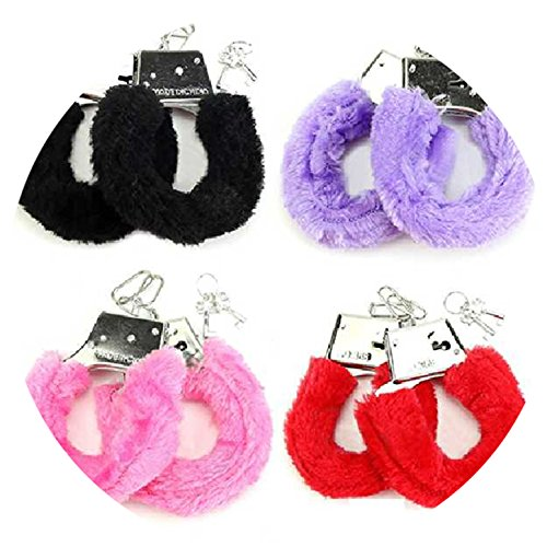 1 Pair Stylish Soft Metal Adult Hen Night Party Game Sexy Gift Furry Fuzzy Handcuffs Red