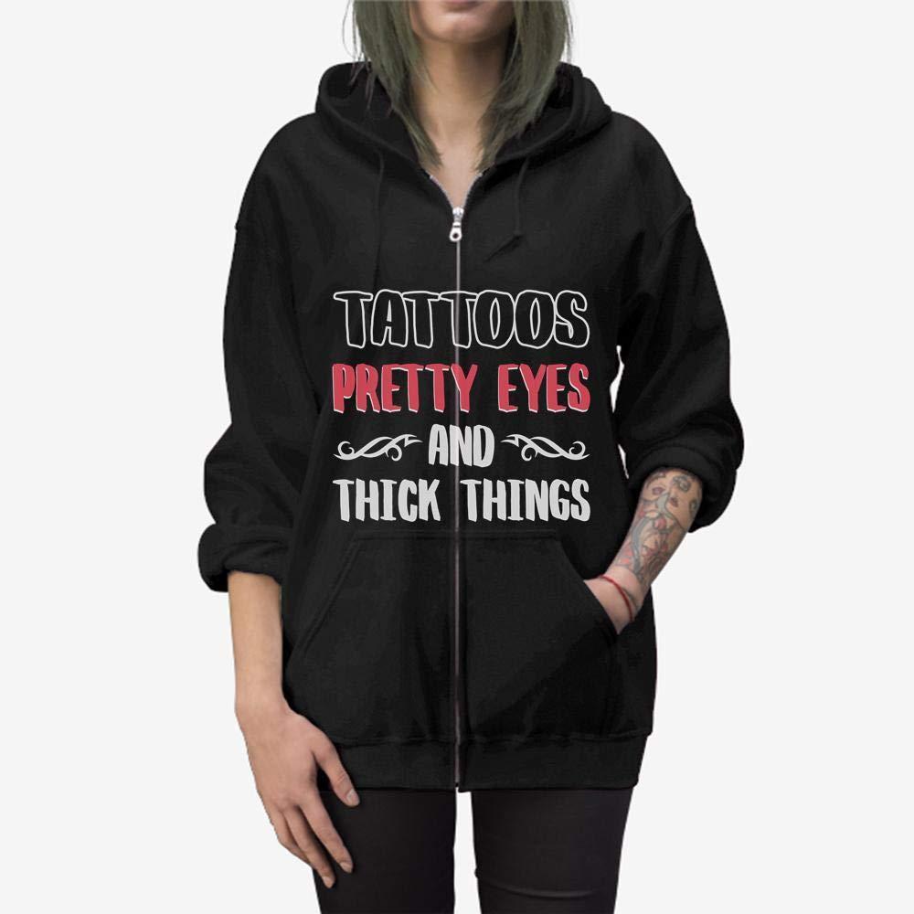 Doryti Tattoos Pretty Eyes and Thick Thighs Zip Hooded Sweatshirt