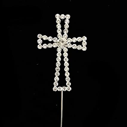 Crystal Cross Cake Topper For Baptism Wedding Decoration First Communion Baby Shower Decor Silver Christening Party Supplies For Boy And Girl