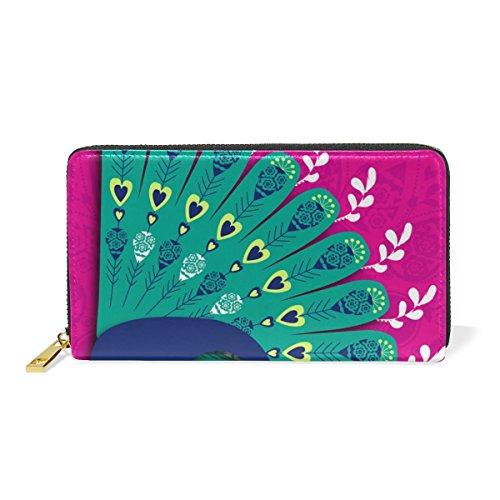 Blue Viper Peacock Diwali Personalized Leather Long Wallet Zipper Purse Case Card Holder by Hokkien