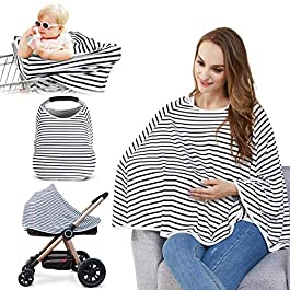 Baby Nursing Cover & Nursing Poncho – 360° Full Privacy Breastfeeding Protection, Shopping Cart Stroller Cover, Multi-Use Cover for Baby Car Seat Canopy, Baby Shower Gifts for Boy&Girl
