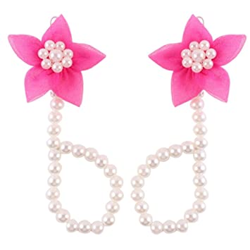 8704e7173 Amazon.com   FEITONG  2016 Cute Pearl Chiffon Barefoot Toddler Foot Flower  Beach Sandals Anklet (Hot Pink)   Baby