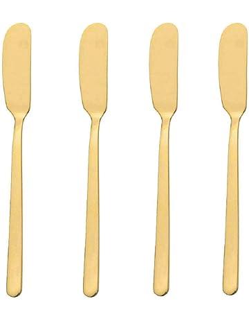 GuDoQi Paquete de 4 Cuchillo de Mantequilla de Acero Inoxidable