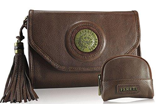 FERETI Leder Cognac Braun clutch tasche umhängetasche passende geldbörse mit kette 3D Löwe mit quaste …