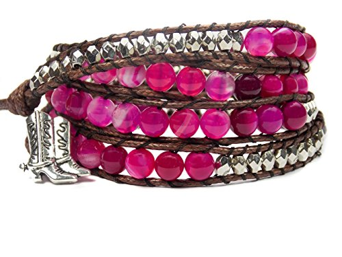 Equestrian Bracelet Cowgirl Boots Pink Agate Beaded Wrap (Cheap Cowgirl Boots Under 20)