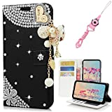 EVTECH iPhone 8 Plus/7 Plus Case with Lanyard Neck Strap, [Stand Feature] Butterfly Crystal Wallet Case Premium [Bling Luxury] Leather Flip Cover [Card Slots] For iPhone 8 Plus/7 Plus