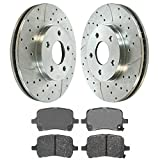 Prime Choice Auto Parts BRKPKG002348 Front Kit Drilled Slotted Brake Rotors & Ceramic Pads
