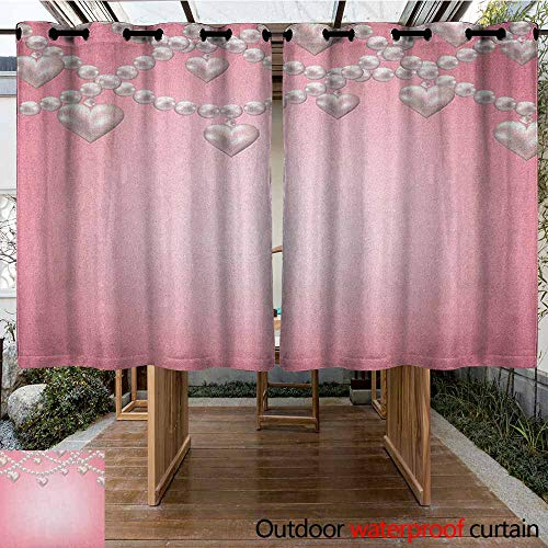 AndyTours Grommet Outdoor Curtains,Pearls,Heart Pearl Necklace Design Vintage Accessory Love Valentines Celebrating Artwork,Darkening Thermal Insulated Blackout,K140C160 Beige Pink - John Wind Heart Necklace