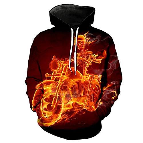 Manica Flame Pocket Felpa Ghost Print Outdoor Casual Classica Giacca Lunga Kj3 Hood Sponsorey Allentata qvfxYEf