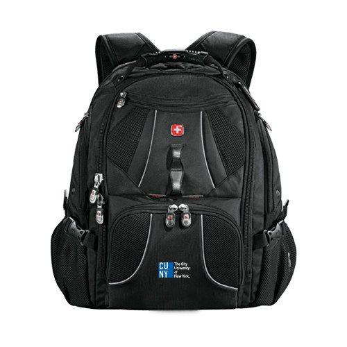 CUNY Wenger Swiss Army Mega Black Compu Backpack 'Official Logo' by CollegeFanGear