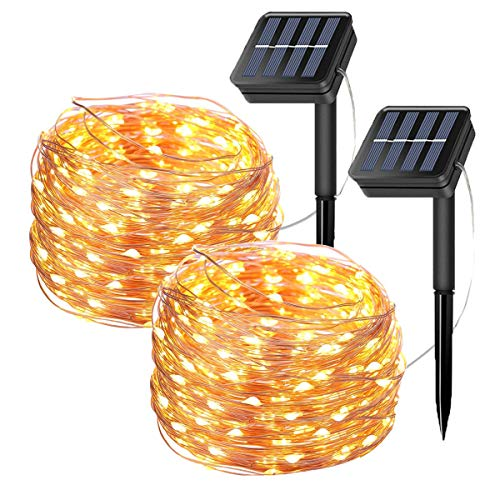 Tempo 2 Pack Solar Fairy String Lights, 20 Meters/66ft 200 LED 8 Modes Copper Wire Starry Lights, Indoor/Outdoor Solar…