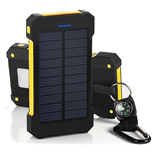 Water-proof 20000 mAh Solar Mobile Power Bank Solar Charger (Yellow) - 3