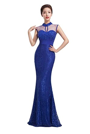 Beauty-Emily Long Lace Mermaid Sequins Formal Prom Dress Color Blue,Size 06