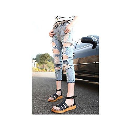 Femme Sandales Plates Lanieres Decoupees Cheville Mode Plateforme Poiture Grande Boucle Noir