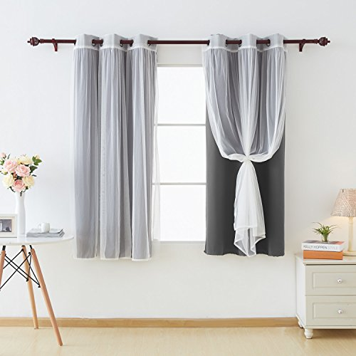 Deconovo Grommet Top Curtains Mix and Match Blackout Curtains Dark Grey 2 Panels and Tulle Lace White Sheer Curtains for Bedroom Dark Grey Set of 4 42X63 Inch