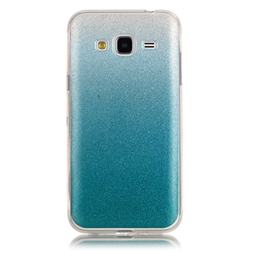 Price comparison product image Moonmini Gradient Color Sparkling Glitter Ultra Slim Fit Soft TPU Phone Back Case Cover for Samsung Galaxy J3 (2015) - Sky-blue