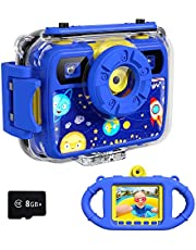 Ourlife Kids Camera, Selfie Kids Waterproof Digital Cameras for Kids 1080P 8MP 2.4 Inch Large Screen with 8GB SD Card, Silicone Handle and Fill Light,2020 Upgraded (Blue)