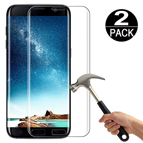 [2 Pack] Samsung Galaxy S7 Screen Protector Tempered Glass 3D Full Curved [9H Hardness][Ultra Clear][Anti Scratch][Bubble Free] Tempered Glass Screen Protector Film for Samsung Galaxy s7