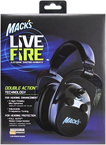 Mack's Live Fire Electronic Shooting Earmuffs Black by Mack's