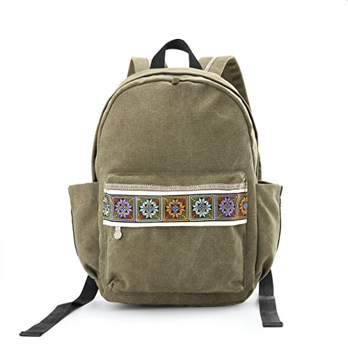 Women Canvas Backpacks Embroideried Daypack Casual Shoulder Bag, Shool Bag Laptop Backpack for Girls (School Bag Style A) Backpack Style Handbag