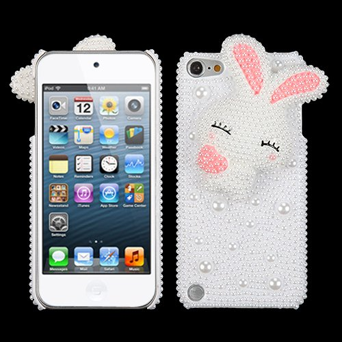 Snap on Cover Fits Apple iPod Touch 5th 6th Cute Rabbit With Pink Rendering Ears Pearl 3D Diamante Back