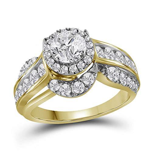 14k Yellow Gold Diamond Solitaire Engagement Ring Wedding Anniversary 2.00 ct