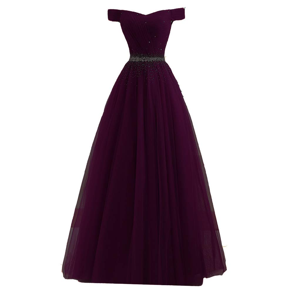Dark Plum Lemai Long Off The Shoulder Beaded Tulle A Line Corset Prom Dresses Evening Gown
