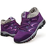 gracosy Women's Hiking Shoes, High Top Sneaker Winter Warm Hook Loop Snow Shoes Fur Lining Suede Ankle Bootie Purple 6 M US