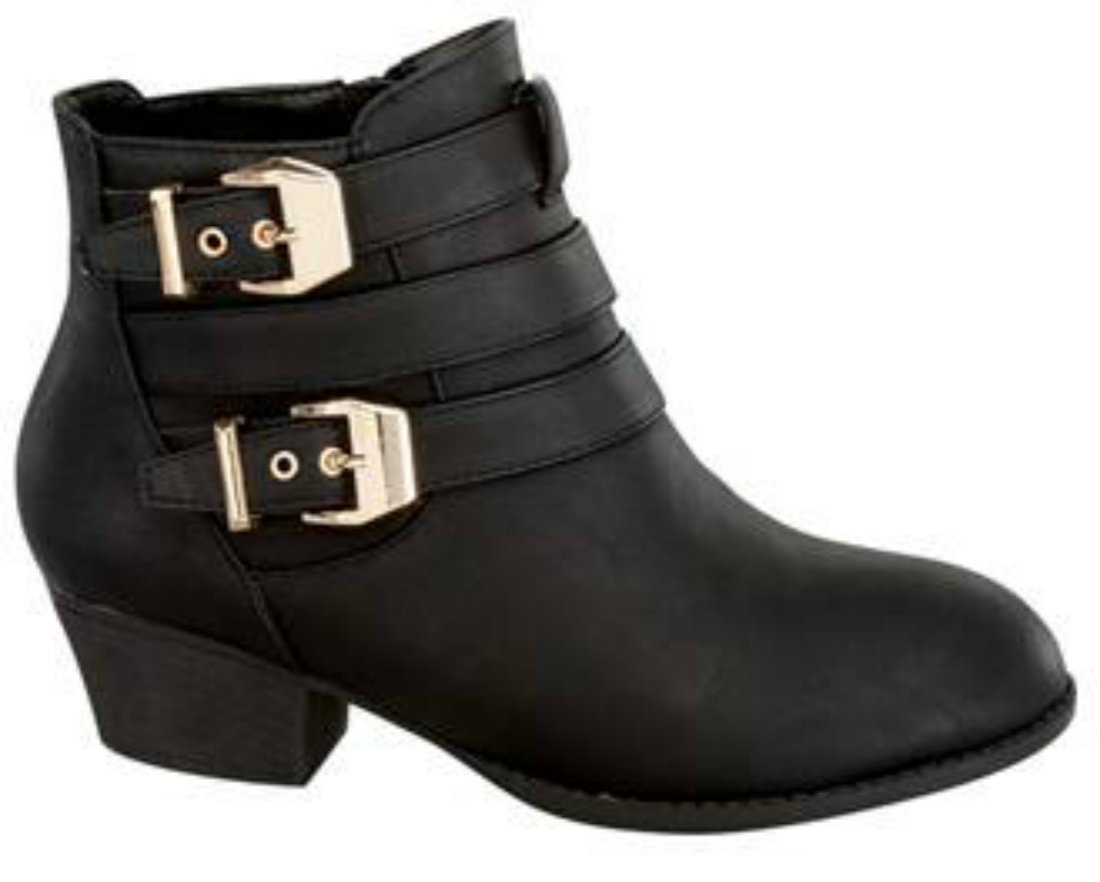 Women's Buckle Straps Stacked Low Heel Ankle Booties Black 8